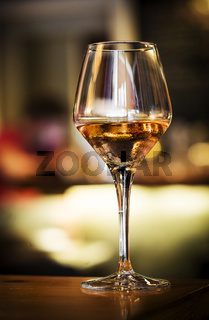 glass of spanish sherry wine on bar counter
