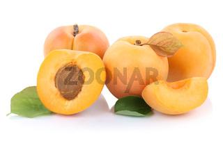 Aprikose Aprikosen Frucht frische Früchte geschnitten Hälfte Obst Freisteller freigestellt isoliert