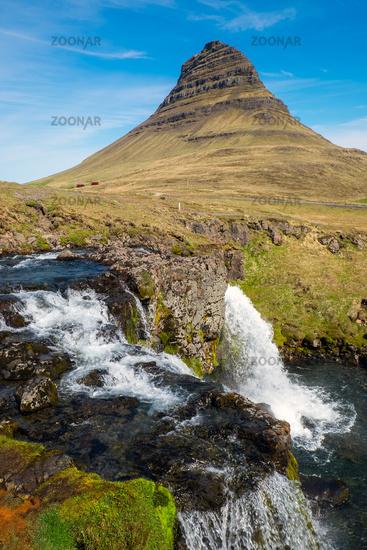 Mount Kirkjufell with the Kirkjufellsfoss in Icela