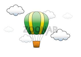 Vector Bright Hot Air Balloon flying in the sky