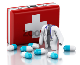 3d Stethoscope, pills and First Aid Kit.
