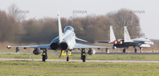 LEEUWARDEN, NETHERLANDS - APRIL 11, 2016: German Air Force Eurofighter during the exercise Frisian Flag. The exercise is considered one of the most important NATO training events this year.
