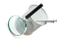 basket  and magnifying glass
