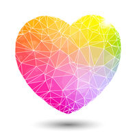 Abstract geometric colorful heart shaped valentine