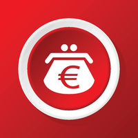 Euro purse icon on red
