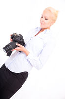 Blond girl with camera