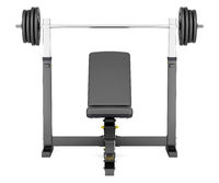 gym adjustable weight bench with barbell isolated