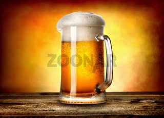 Beer on yellow background