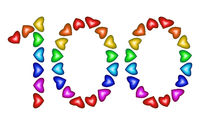 Number 100 made of multicolored hearts on white background