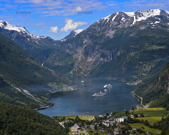 cruise ships in the UNESCO World Natural Heritage Site Geirangerfjord, Norway