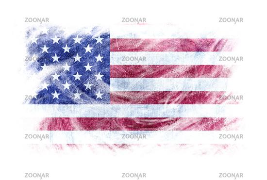 USA flag blackboard chalk erased isolated