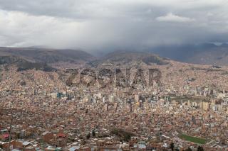 City skyline of La Paz, Bolivia