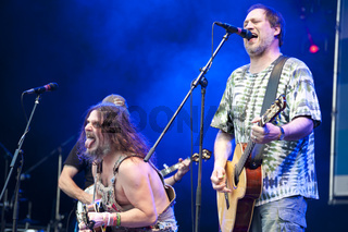 Kiel, Germany, June 25, 2015: American Rockgrass-Band Hayseed Dixie  live on the Kiel Week 2015