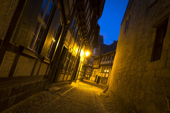 Historic lane in Quedlinburg at night