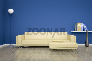 blue room with a sofa