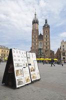 Grapfic arts display in Krakow Market Square