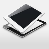 Tablet computers with blank and black screens.
