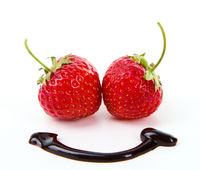 Fresh sweet strawberry with chocolate smile