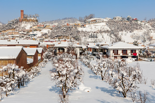 Small town under the snow in Italy.
