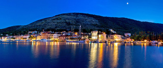 Blue evening in Vis town panoramic