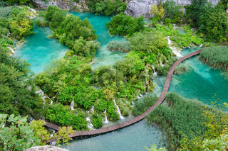 Beautiful waterfalls in Plitvice Lakes National Park, Croatia