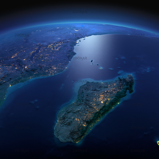 Detailed Earth. Africa and Madagascar on a moonlit night
