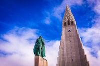 Hallgrimskirkja Church and statue of Leif Erikson