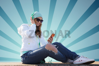 happy young woman with smartphone and headphones