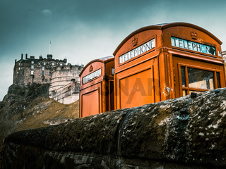 Red Phoneboxes By Edinburgh Castle