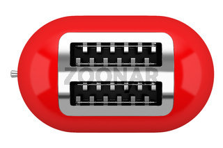 top view of red toaster isolated on white background