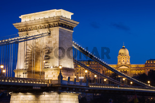 Chain Bridge and Buda Castle at Night in Budapest