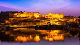 Amer Fort at night in twilight,  Jaipur