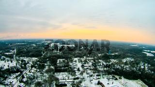 sun rising over winter landscape in york south carolina