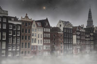 mystical fog in Amsterdam at night by the light of stars.