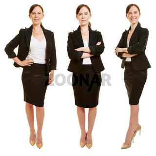 Drei Varianten einer Geschäftsfrau