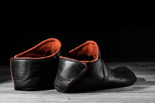 Empty slipper shoe design at home in creative light. Concept relax