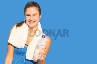 Composite image of fit woman with water
