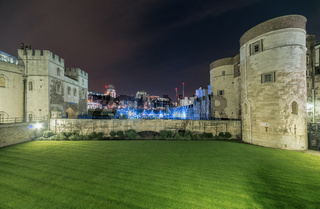 Tower of London Castle building at night, London, UK