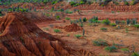 Big red sand stone hill in dry hot tatacoa desert with plants, huila