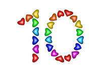 Number 10 made of multicolored hearts on white background