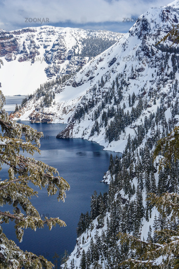 Caldera lake in Crater Lake National Park Oregon USA