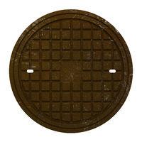 rusty manhole cover isolated on white background