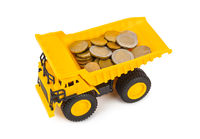 Toy car truck with money coins
