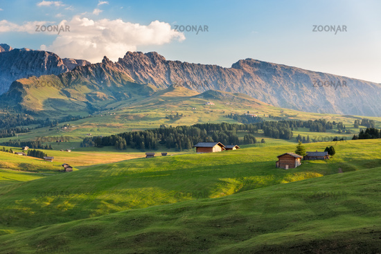 Seiser Alm in afternoon light, South Tyrol, Italy
