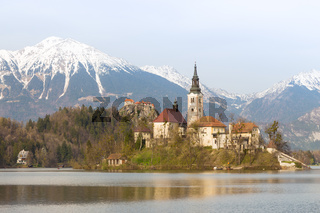 Lake Bled with island church, Slovenia, Europe.