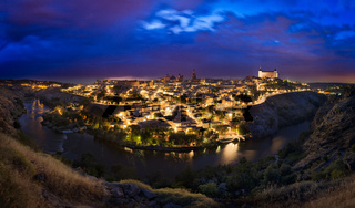 Toledo skyline after sunset, Castilla-La Mancha, Spain