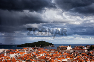 Clouds over Dubrovnik and Lokrum Island
