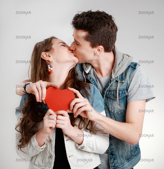 Valentine Couple. Kissing and happy.  Joyful Family.