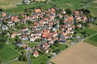 Aerial view of Michelrieth district Main-Spessart