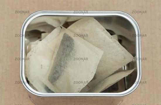 tea bags in tin box